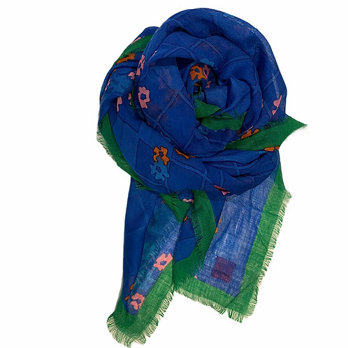 Erfurt Floral Cobalt And Green Wool Scarf