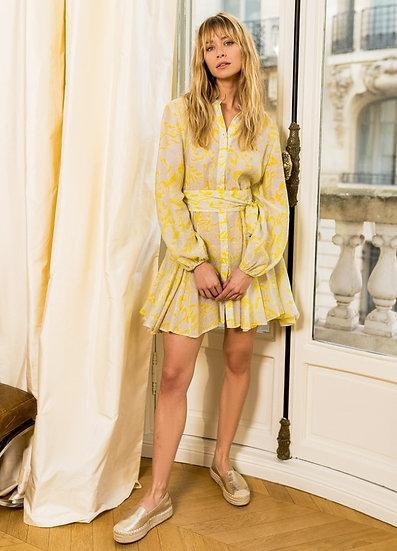 Parisian Style Yellow Skater Dress
