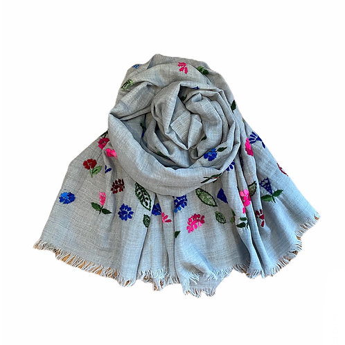 Ombré Embroidered Wool Mix Scarf