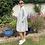 Thumbnail: Italian Collection Grey Linen Shirt Dress