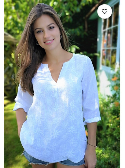 Linen Embroidered Tunic Top