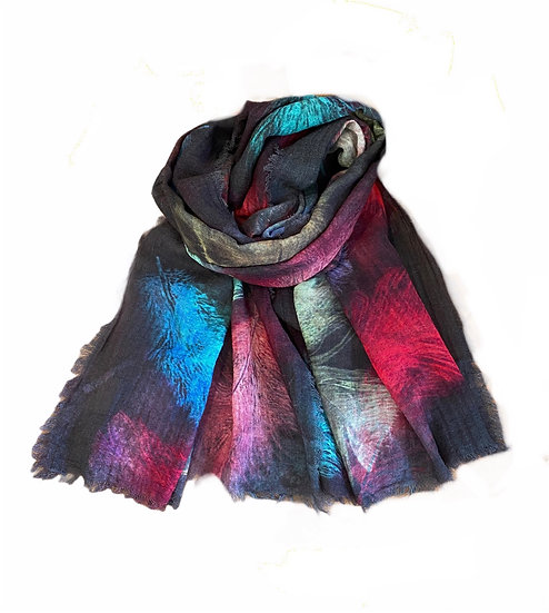 Ombré Feather Print Wool Scarf
