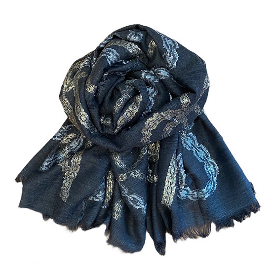 Ombré Black Wool and Lurex Scarf