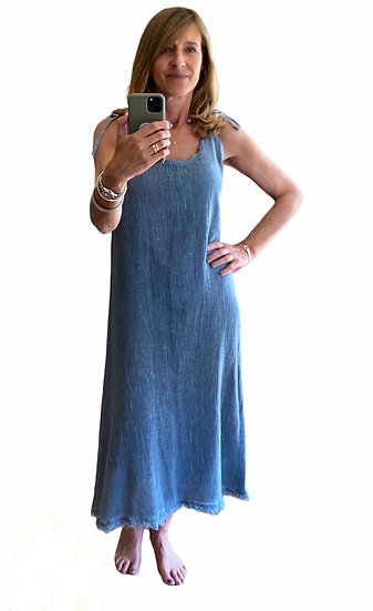 Italian Collection Blue Linen Sundress