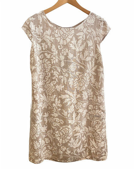 Italian Collection Stone Floral Linen Dress