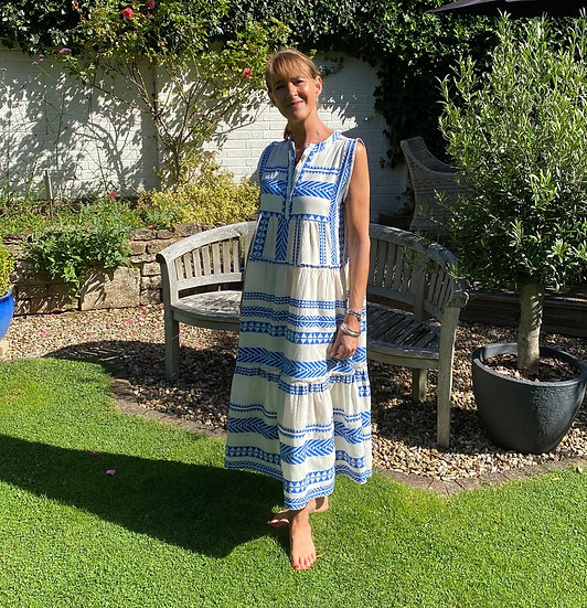 Italian Collection Tribal Print Cobalt Maxi Dress