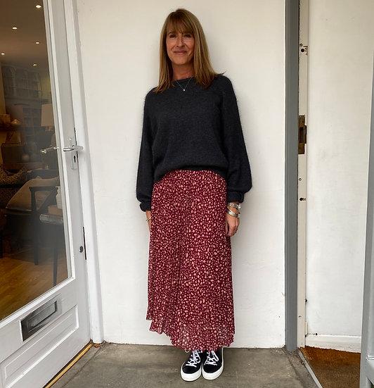 Parisian Style Raspberry Pleated Skirt