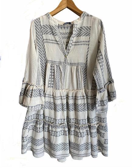 Tribal Grey Tunic Dress