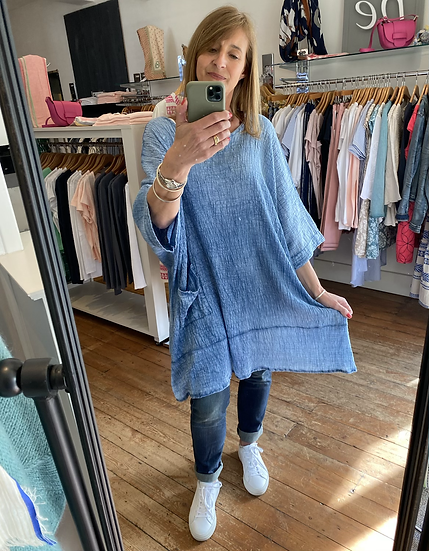 Sadie Blue Cheesecloth Pocket Tunic Top