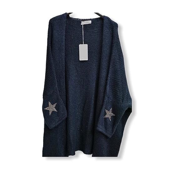 Parisian Style Oversized Star Navy Cardigan