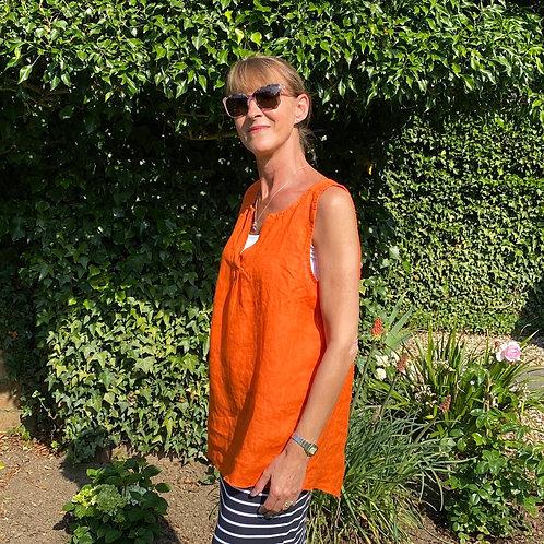 Italian Linen Orange Sleeveless Top