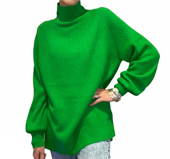 New AW American Vintage  Lawn Green Turtle Neck Jumper