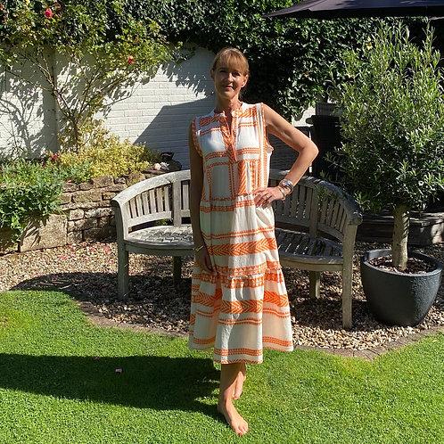 Italian Collection Tribal Print Orange Maxi Dress
