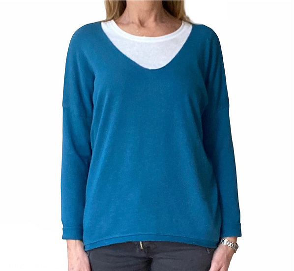 Ava Petrol Blue Cotton Jersey Top