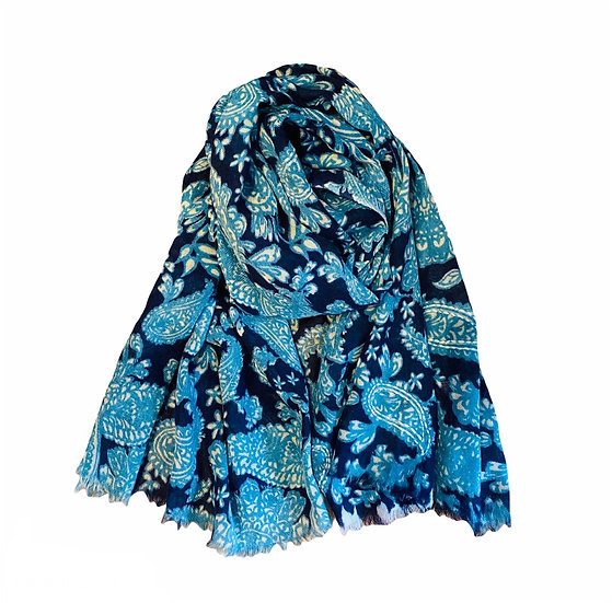 Ombré Navy Embroidered Blues Paisley Scarf
