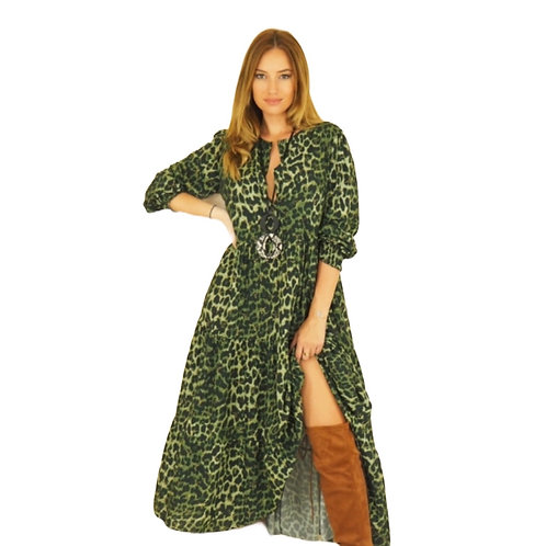 Parisian Style Forest Green Animal Print Dress