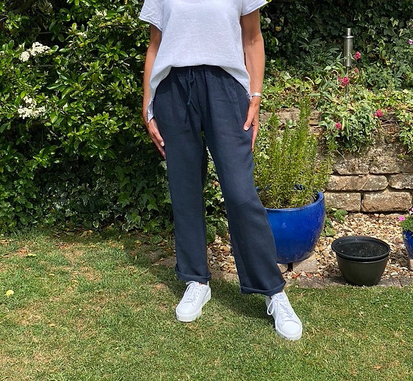 Italian Linen Navy Trousers