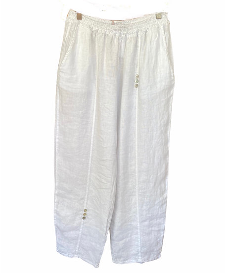 Italian Collection White Linen Trousers