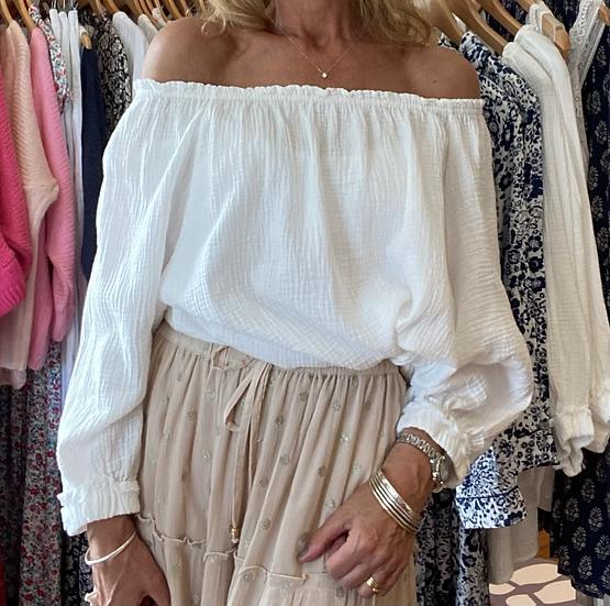 White Bardot Top