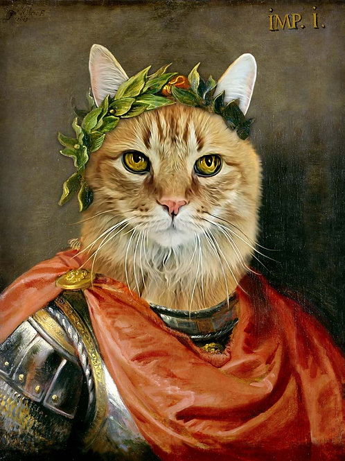 A tan cat painted as Julius Caesar. He's wearing metal armor with a red sash and crown made of olive branches