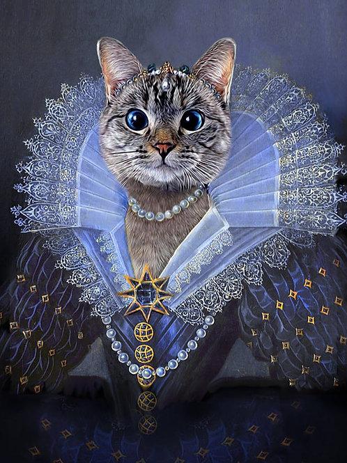 Cat Pet Portrait painting as Princess