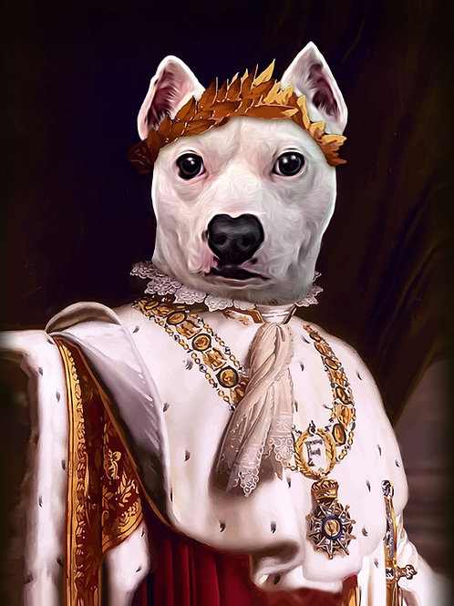 A dog painted as Emperor Napoleon Bonaparte of France with a white regal garb.
