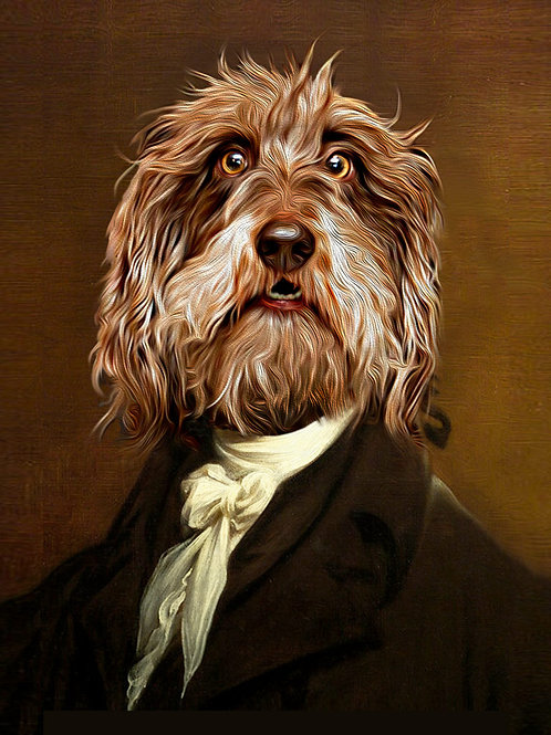 Classic Alexander Hamilton painting redone to show a shaggy brown dog