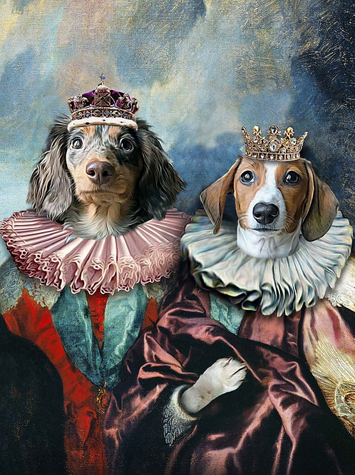 A regal pet portrait with two dogs painted as jesters in over the top outfits