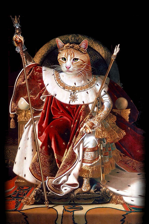 Pet on a regal thrown and photoshopped into a portrait of Napoleon. The pet is cloaked in red and white and wearing a crown.