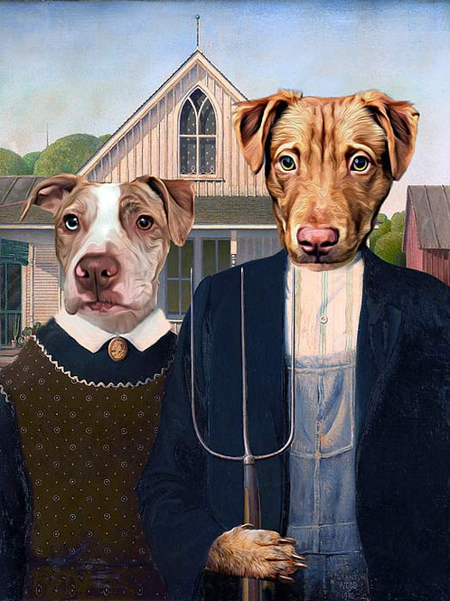 Pitbull and golden retriever in American Gothic Painting by Grant Wood Renaissance Pet Portrait