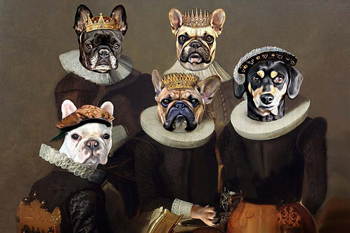 Pet portrait of Three French Bulldogs and one Dachshund as kings