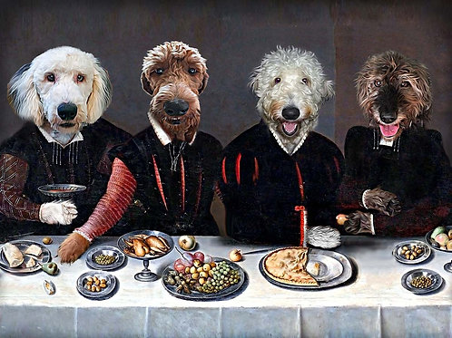 Pet portrait with four dogs - two goldendoodles and two scottish wolfhounds pictured as four royal subjects eating dinner