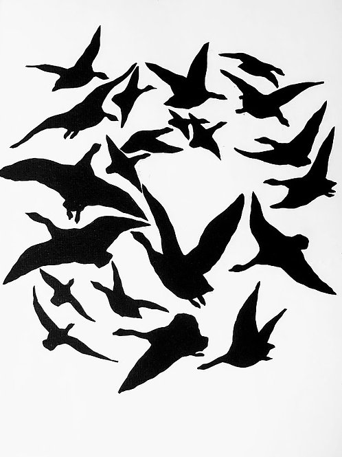 """(#185/2020)i saw the sky fully covered by the birds{15} 16x16"""""""