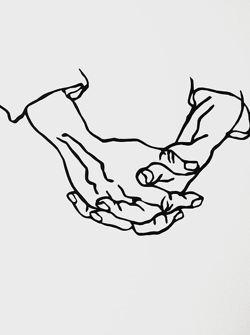 "(#106/2020) ""the hands were beautiful, deft and wise"" (16x16"")"