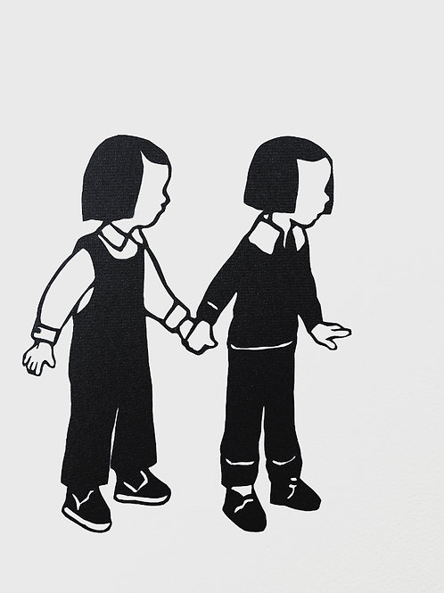 """(#127/2020) """"hold my hand, hold it tight {3}"""" (12x12"""")"""