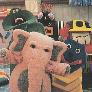 Diesel the Truck, Alfred the Green Hot water Bottle, Johnson the Pink Elephant, Mcduff the Concertina, Squeaky the Robot