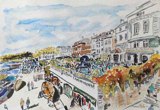 Richmond Riverside in Summer 2018, watercolour & ink painting