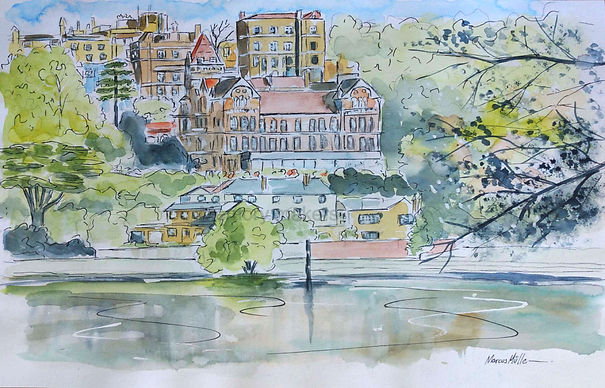 Richmond upon Thames, watercolour & ink painting