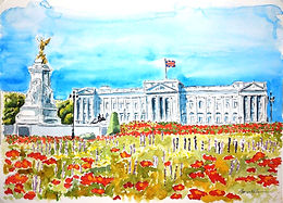 Buckingham Palace, watercolour & ink painting