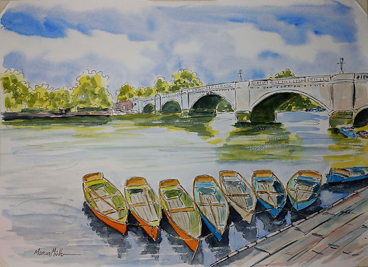 Richmond Bridge Boats II, watercolour & ink painting