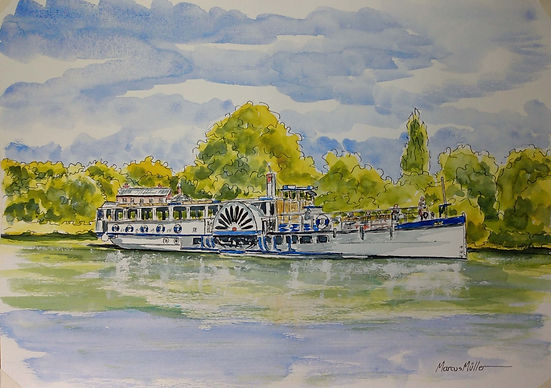 Yarmouth Belle on Turner's Corner, watercolour & ink painting