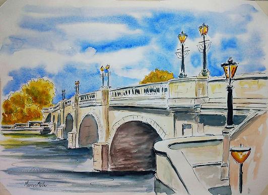 Kingston Bridge, watercolour & ink painting