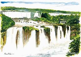 Cataratas do Iguaçu - Iguazu Falls, watercolour & ink painting