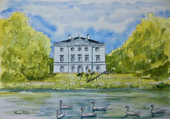 Marble Hill House, watercolour & ink painting