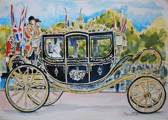Royal State Coach, watercolour & ink painting