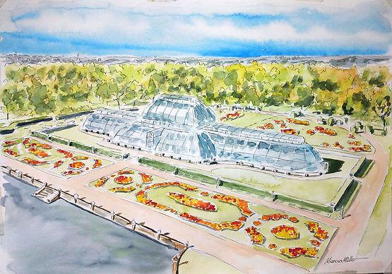 Kew Gardens, watercolour & ink painting