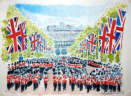 A Royal Parade, watercolour & ink painting