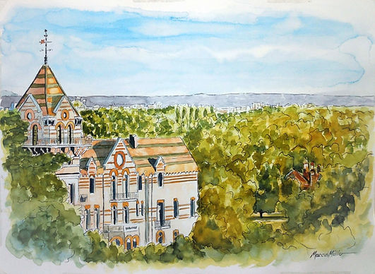 Petersham Hotel on Richmond Hill, watercolour & ink painting