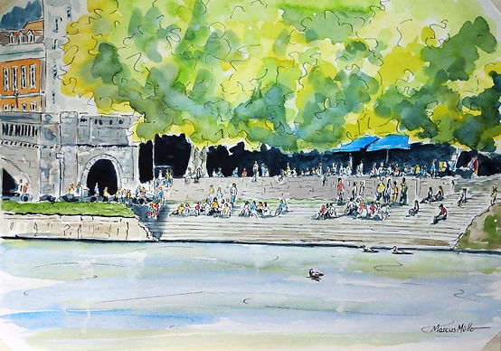 Richmond stairs by the Bridge, watercolour & ink painting