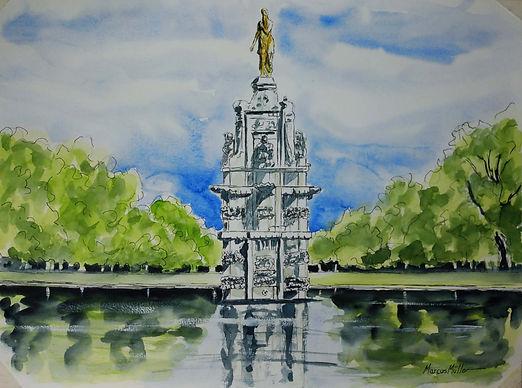 Diana Statue, watercolour & ink statue
